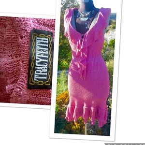 Tracy Feith Beautiful Pink knit ruffled dress szXs